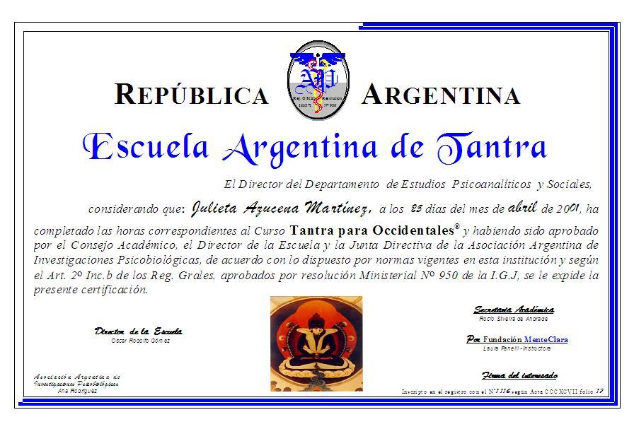 Certificación oficial del Curso de Tantra
