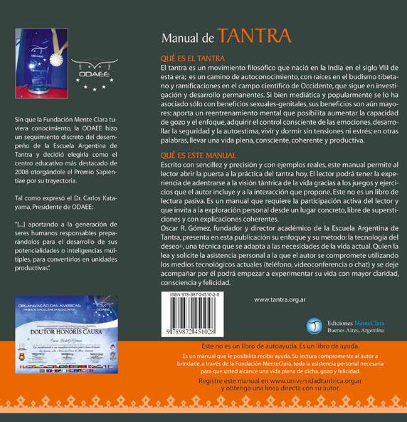 Contratapa  de la tercera edición del  Manual de Tantra de Oscar R. Gómez (Osy)